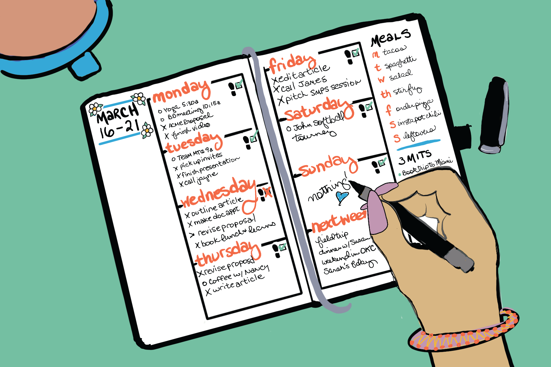 While it seems like there are endless ways to approach a weekly spread for your bullet journal, all the ideas actually fall into just a few categories. (We've sorted the ideas to help you focus in on the approach that works for you.)
