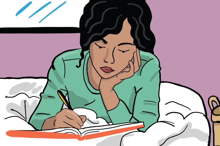 Illustration of woman in bed journaling